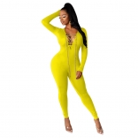 Yellow Long Sleeve V-Neck Metal Chains Sexy Jumpsuit