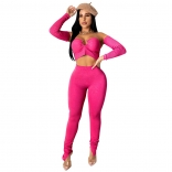 RoseRed Long Sleeve V-Neck 2PCS Women Sexy Jumpsuit