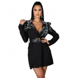 Black Long Sleeve Rainstones V-Neck Fashion Women Coat