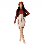 Red Long Sleeve Cotton Women Bodycons Mini Dress