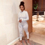 White Long Sleeve Hollow-out Sexy Party Jumpsuit