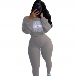 Grey Long Sleeve 2PCS Bodycons Sexy Jumpsuit