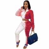 Red Long Sleeve Printed Bandage Women Jumpsuit