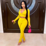 Yellow Long Sleeve Deep V-Neck Bodycons Jumpsuit
