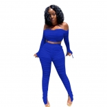 Blue Off-Shoulder 2PCS Women Mesh Sexy Jumpsuit