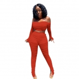 Orange Off-Shoulder 2PCS Women Mesh Sexy Jumpsuit