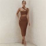 Khaki Sleeveless Women Sexy Bodycon Dress