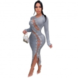 Grey Long Sleeve Hollow-out Bandage Midi Dress