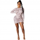 White Long Sleeve Printed Women Bodycons Mini Dress