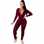 Red Long Sleeve Deep V-Neck Bodycons Sexy Jumpsuit
