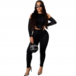 Black Long Sleeve Hollow-out 2PCS Women Jumpsuit Dress
