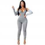 Grey Long Sleeve Hollow-out 2PCS Women Jumpsuit Dress