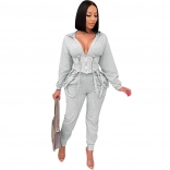 Grey Long Sleeve Zipper Women Fashion Jumpsuit Dress
