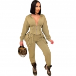 Green Long Sleeve Zipper Women Fashion Jumpsuit Dress