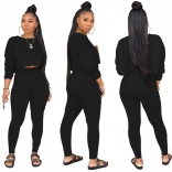 Black Long Sleeve O-Neck 2PCS Women Sexy Jumpsuit