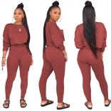 Red Long Sleeve O-Neck 2PCS Women Sexy Jumpsuit