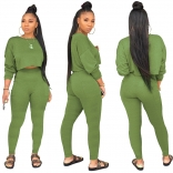 Green Long Sleeve O-Neck 2PCS Women Sexy Jumpsuit