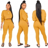 Yellow Long Sleeve O-Neck 2PCS Women Sexy Jumpsuit