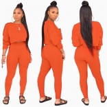 Orange Long Sleeve O-Neck 2PCS Women Sexy Jumpsuit