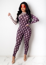 Black Long Sleeve Printed Bodycons Sexy Jumpsuit