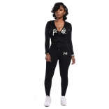 Black Long Sleeve V-Neck Zipper 2PCS Sports Dress