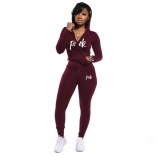 WineRed Long Sleeve V-Neck Zipper 2PCS Sports Dress