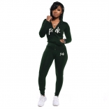 Green Long Sleeve V-Neck Zipper 2PCS Sports Dress