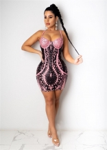 Pink Halter V-Neck Sequins Sexy Bodycons Mini Dress