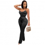 Black Halter V-Neck Women Fashion Jumpsuit