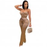Beige Halter V-Neck Women Fashion Jumpsuit