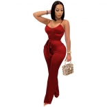 Red Halter V-Neck Women Fashion Jumpsuit