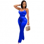 Blue Halter V-Neck Women Fashion Jumpsuit