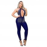 Blue Halter Deep V-Neck Backless Rainstones Sexy Jumpsuit