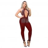 Red Halter Deep V-Neck Backless Rainstones Sexy Jumpsuit