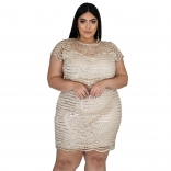 Golden Sleeveless Sequins Mesh Plus Size Women Mini Dress