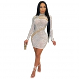 White Mesh Long Sleeve Pearl Women Bodycons Mini Dress