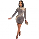 Black Mesh Long Sleeve Pearl Women Bodycons Mini Dress