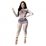 White Long Sleeve Printed Bodycons Sexy Jumpsuit Dress