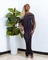 Black Sleeveless Sequins Tassels Women Long Maxi Dress