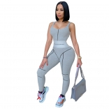 Grey Sleeveless V-Neck Corset Waist Sexy Jumpsuit