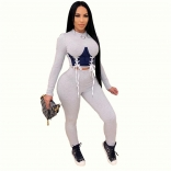 Grey Long Sleeve Lace-up 2PCS Women Sexy Jumpsuit