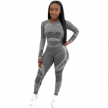 Grey Long Sleeve O-Neck Printed 2PCS Bodycons Jumpsuit Dress