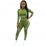 Green Long Sleeve O-Neck Printed 2PCS Bodycons Jumpsuit Dress