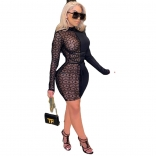 Black Mesh Long Sleeve Women Bodycon Mini Dress