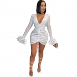 White Lantern Sleeve V-Neck Sequins Mini Dress