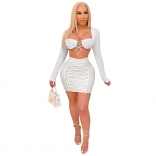 White Long Sleeve Low-Cut V-Neck Bandage Mini Dress