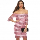 Pink Off-Shoulder Sequins Tassels Women Mini Dress