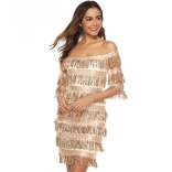 Golden Off-Shoulder Sequins Tassels Women Mini Dress