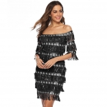 Black Off-Shoulder Sequins Tassels Women Mini Dress