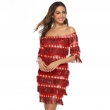 Red Off-Shoulder Sequins Tassels Women Mini Dress